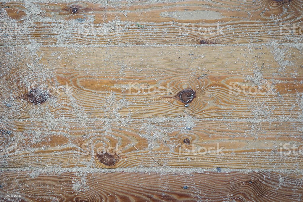 Butchers floor covered in sawdust stock photo