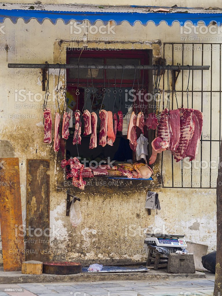 Butchers store, Chengdu, China royalty-free stock photo