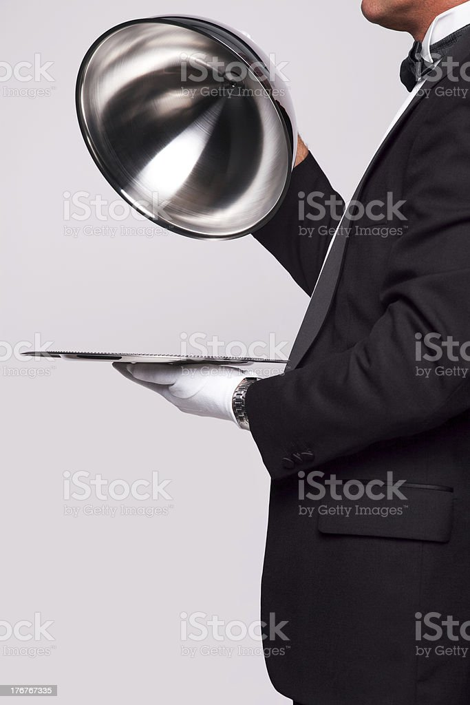 Butler and silver service stock photo
