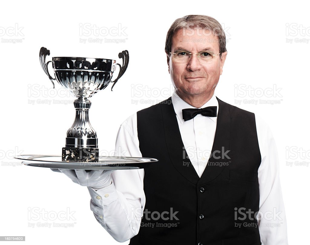 butler and trophy stock photo