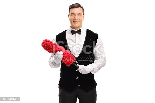 istock Butler holding a red duster 852085040