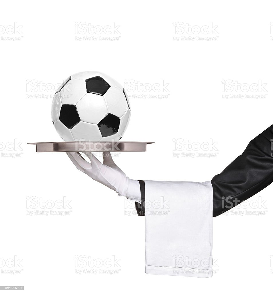 Butler holding a silver tray royalty-free stock photo