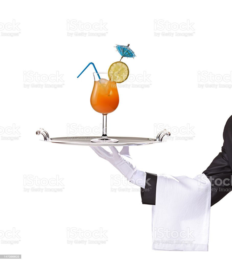 Butler holding a tray with cocktail on it royalty-free stock photo