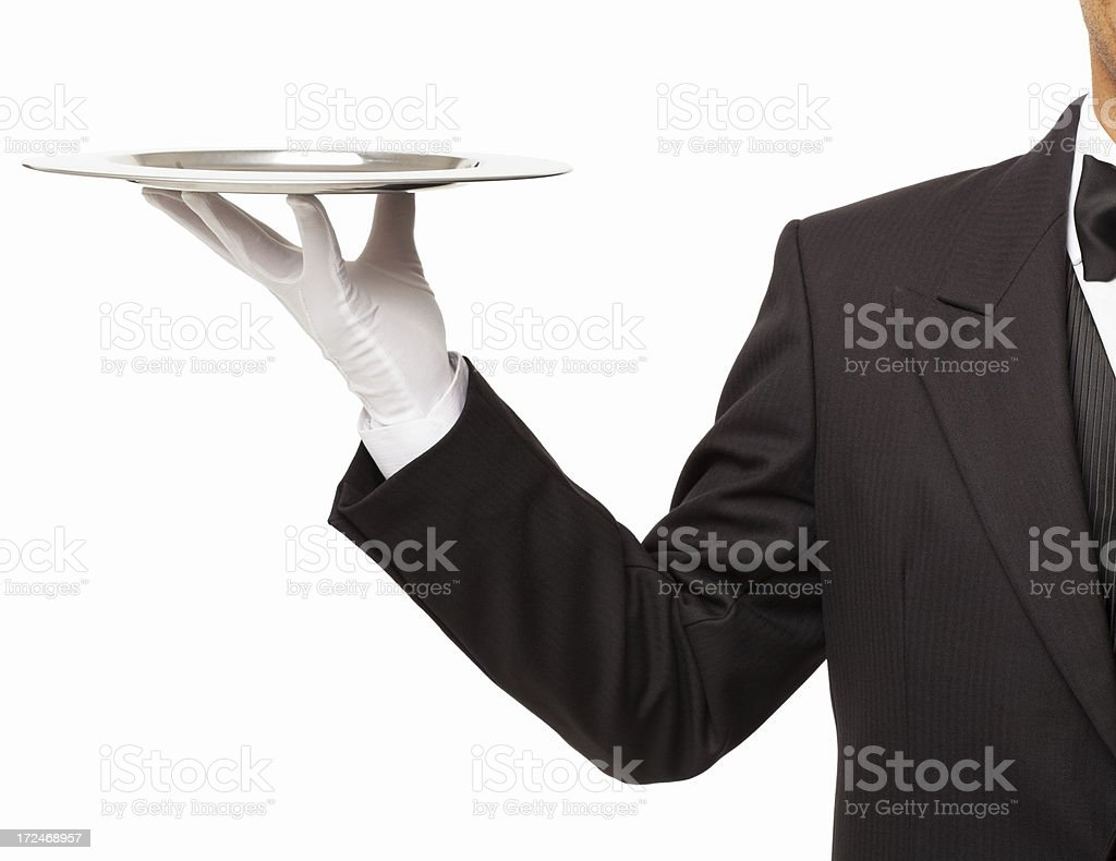 Butler Holding An Empty Serving Tray - Isolated stock photo