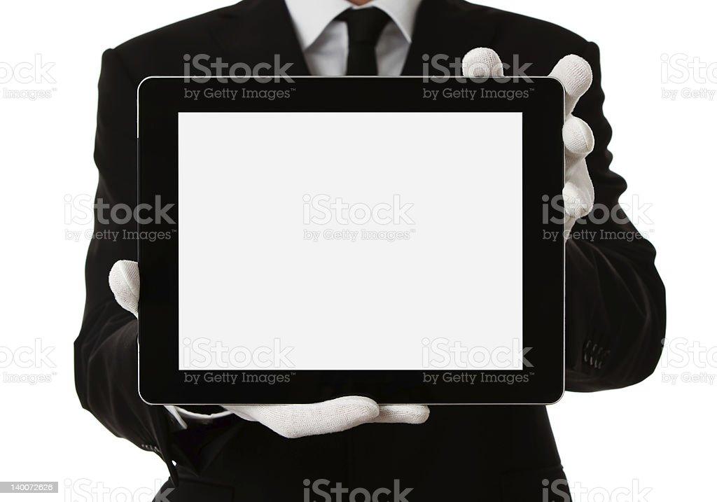Butler holding digital tablet stock photo