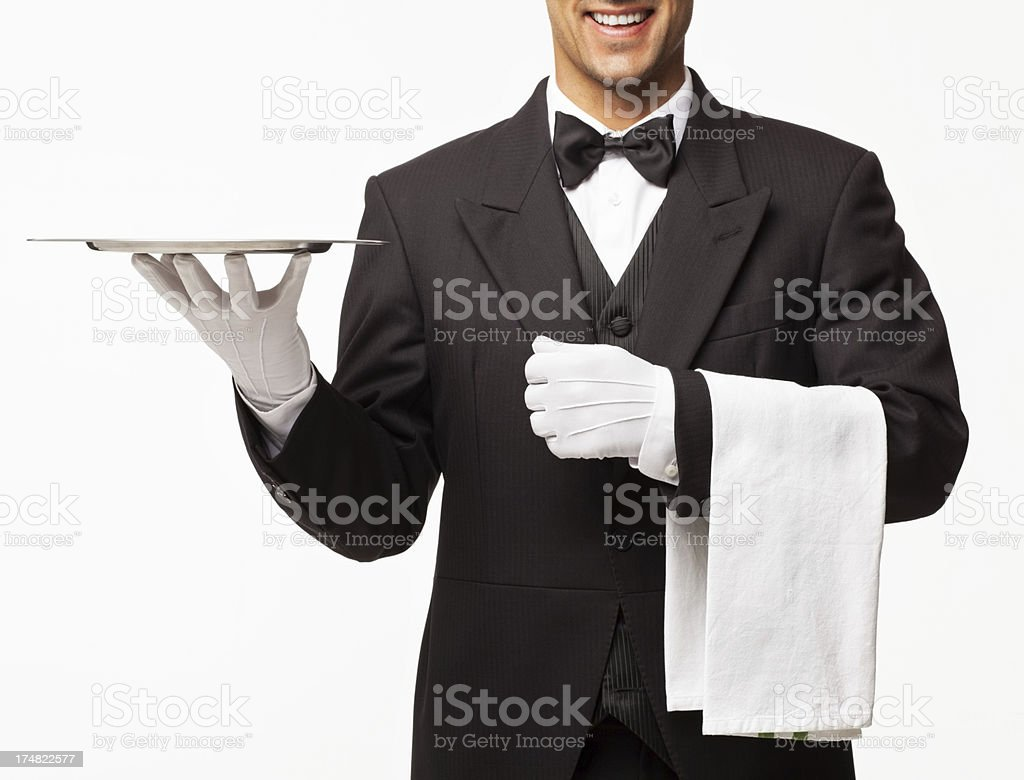 Butler Holding Empty Tray And Napkin - Isolated stock photo