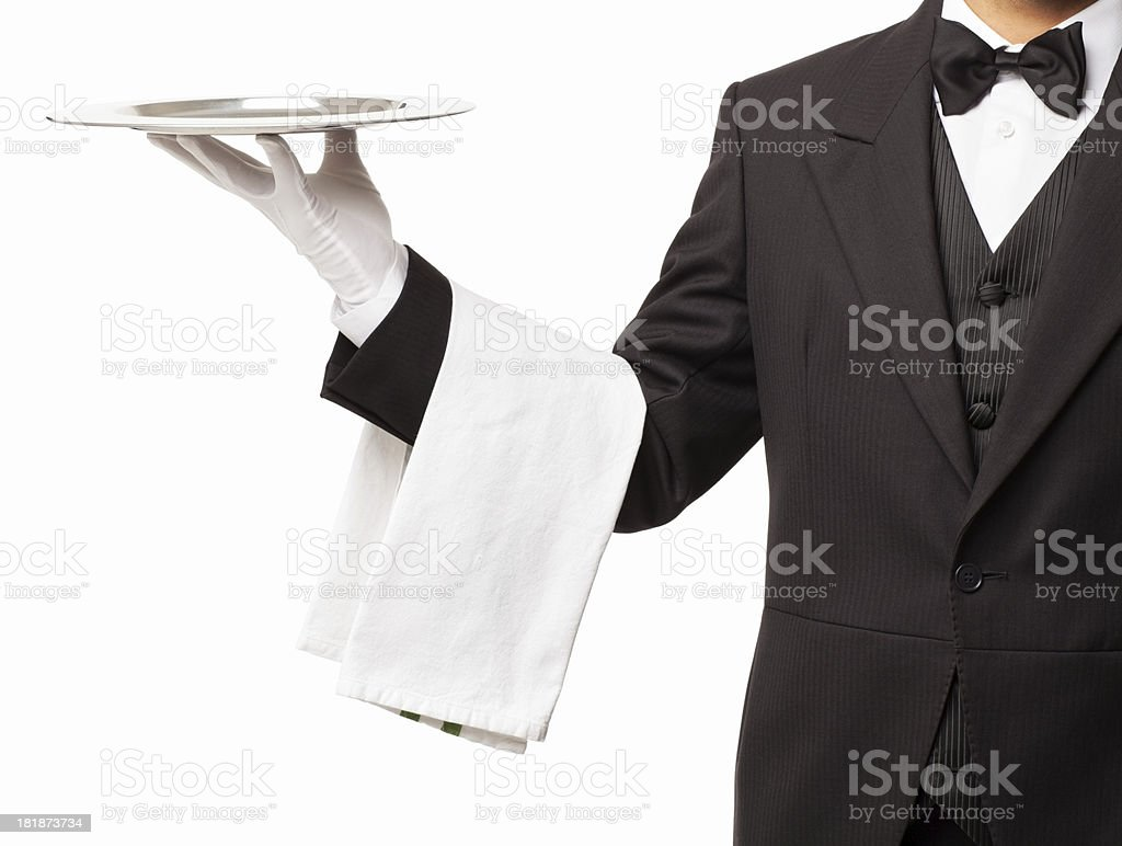Butler Holding Tray And Napkin - Isolated royalty-free stock photo