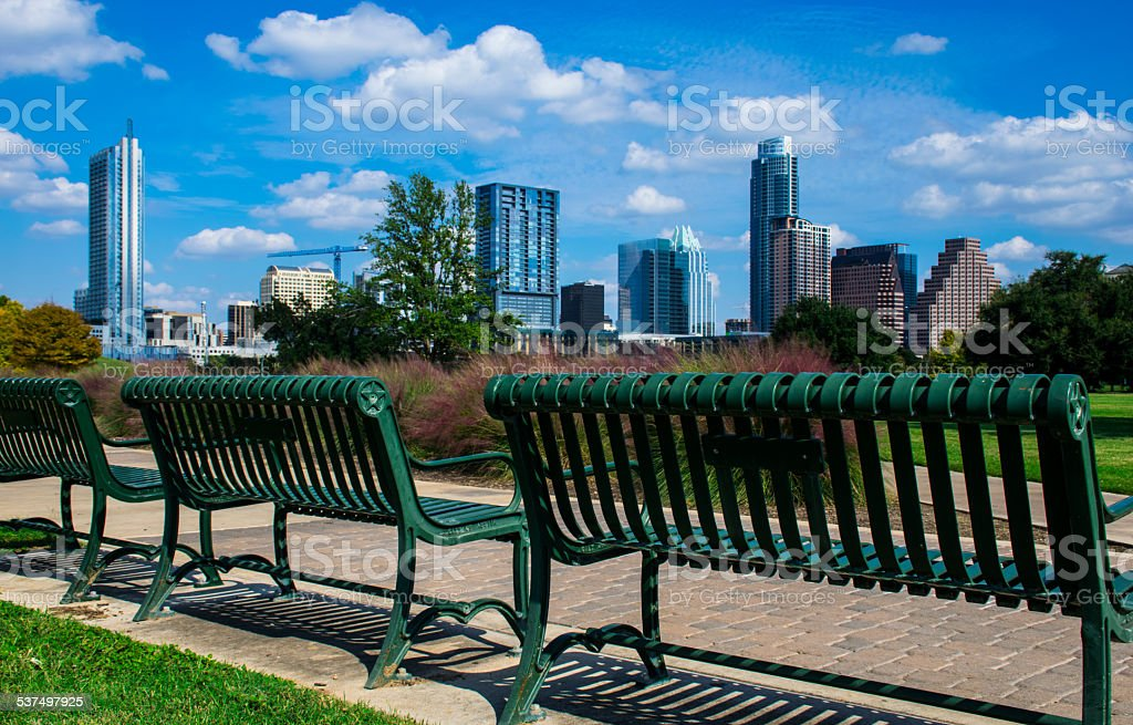Butler Park Benches Enjoy Cityscape View of Austin Texas stock photo