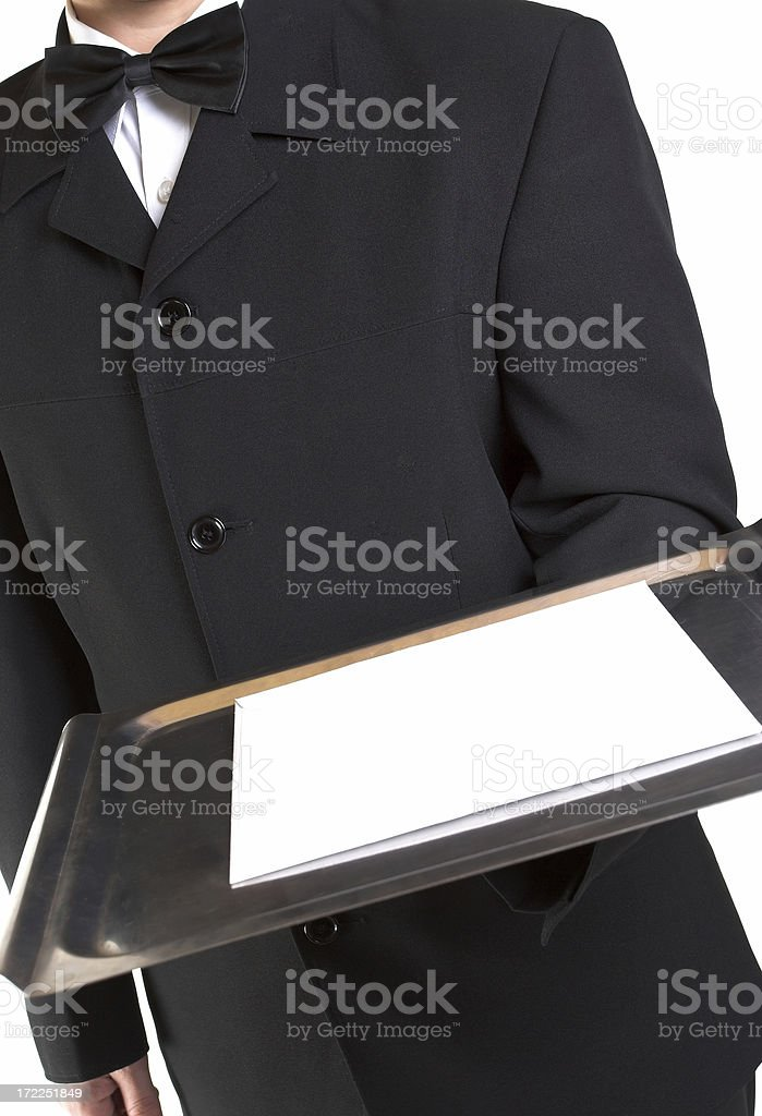 Butler presents a blank card royalty-free stock photo