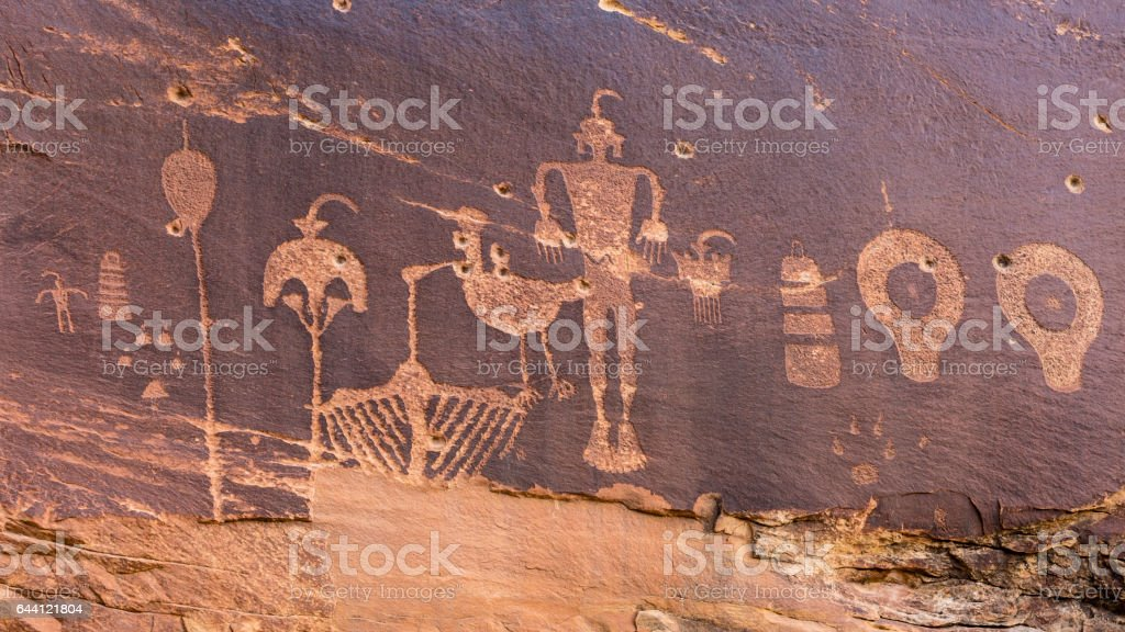 Butler Wash Wolfman Petroglyph panel stock photo