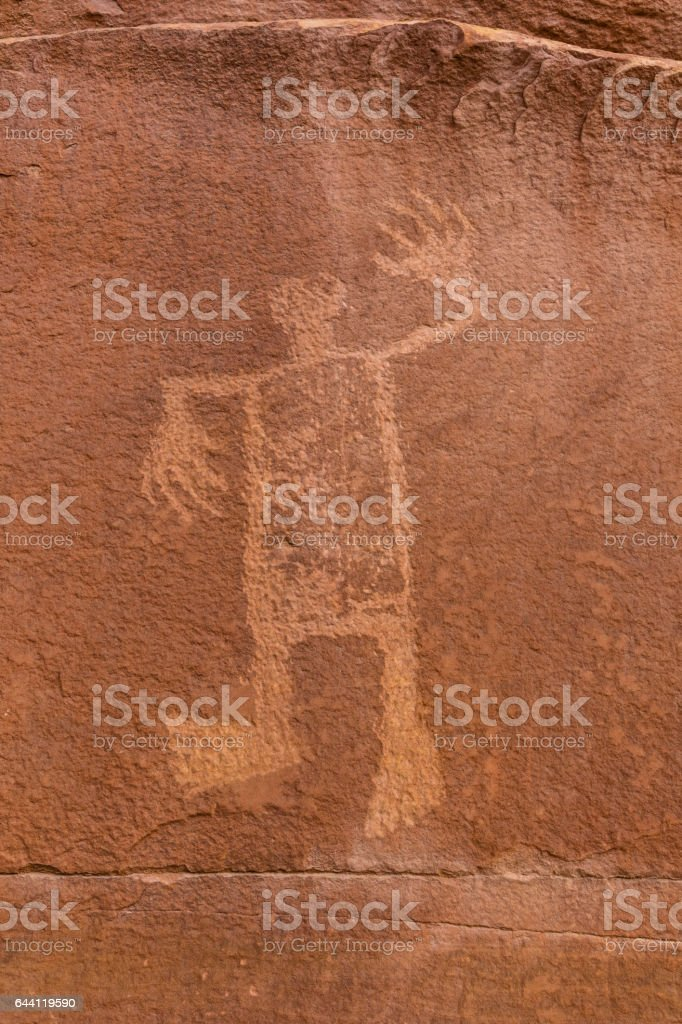 Butler Wash Wolfman Petroglyph stock photo