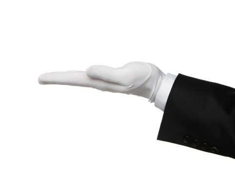 Elegant human hand presenting product or waiting for a tip