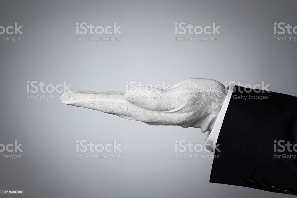 Butler's hand stock photo