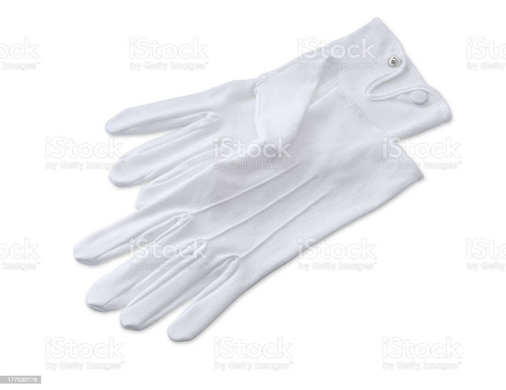butlers,magicians,mime  gloves isolated on white with clipping path stock photo