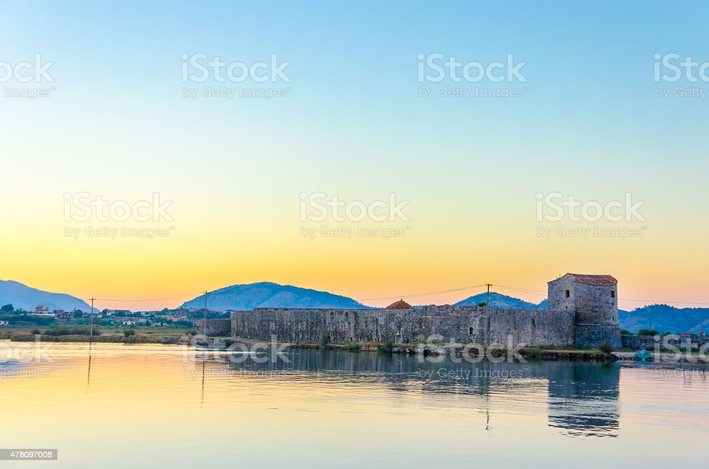 Butrint Archaeological Site and National park at sunrise, Albania stock photo