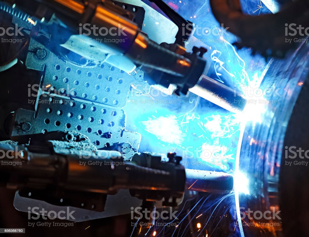 Butt welding underwater pipeline using automatic equipment stock photo