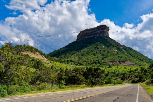 Butte in Mesa Verde National Park stock photo