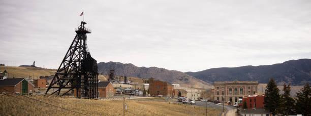 Butte Montana Downtown City Skyline Mine Shaft Courthouse stock photo