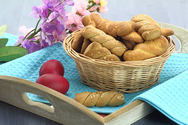 butter biscuits - greek easter stock photos and pictures