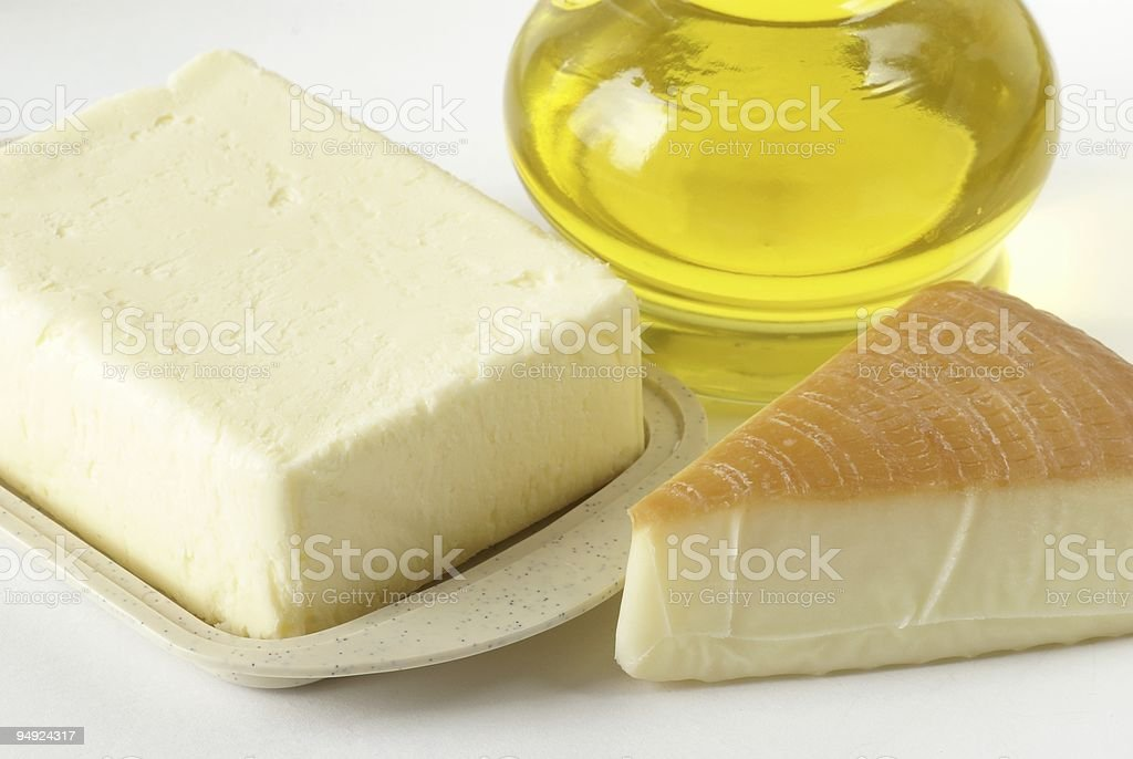 Butter, cheese and oil royalty-free stock photo