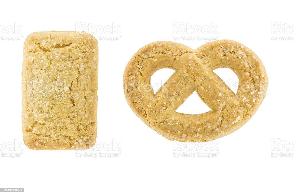 Biscoitos de pasta de isolado no fundo branco - foto de acervo