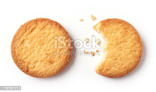 butter cookies isolated on white background, top view