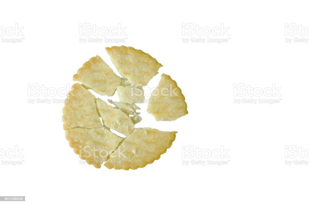 butter cracker cracked on white background stock photo
