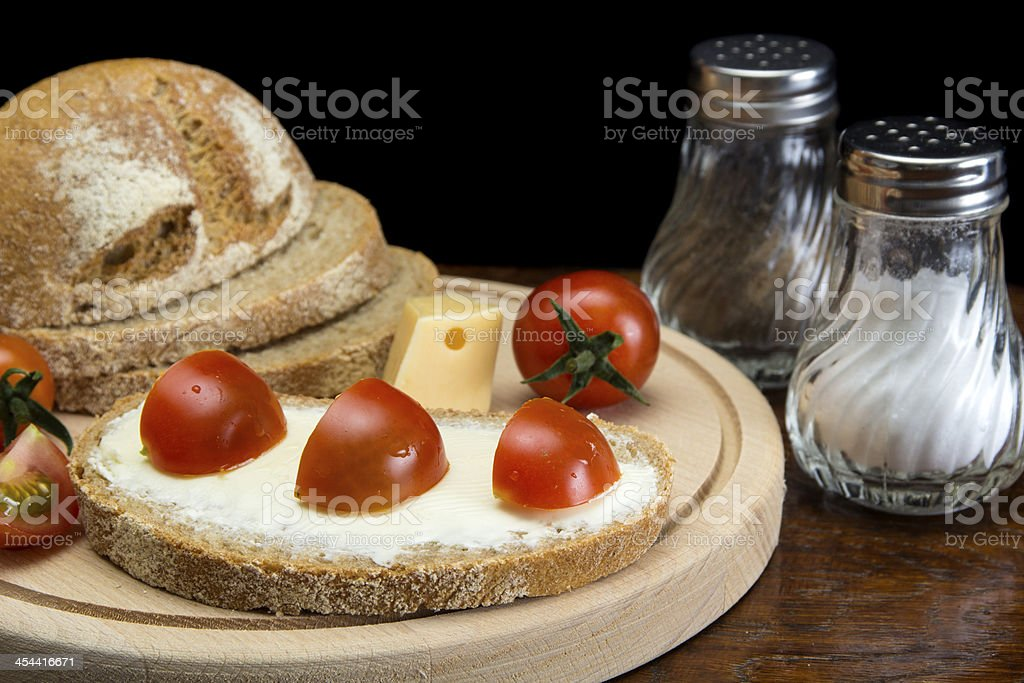 Butter cream and bread royalty-free stock photo