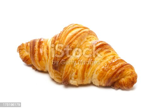 Delicious croissant on white background