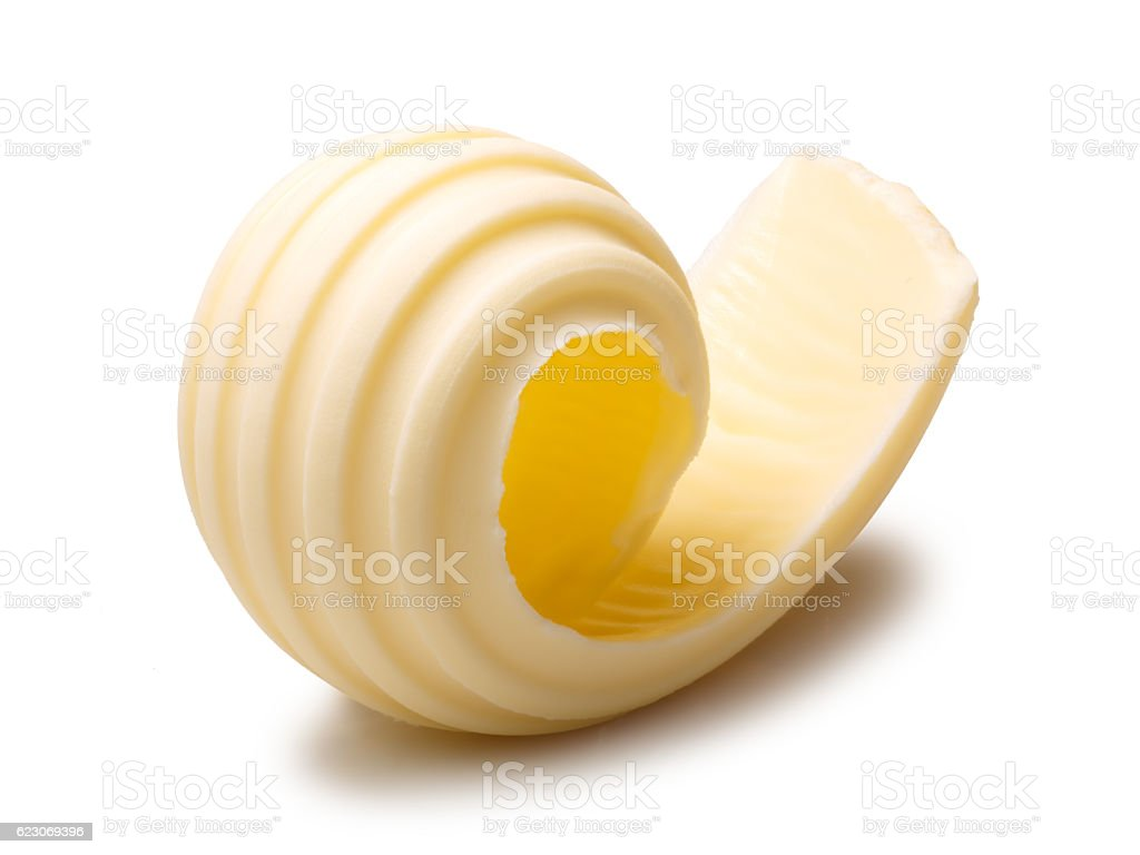 Butter curl or roll, clipping paths stock photo