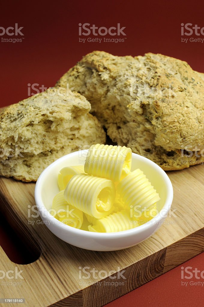 Butter curls with homemade bread royalty-free stock photo