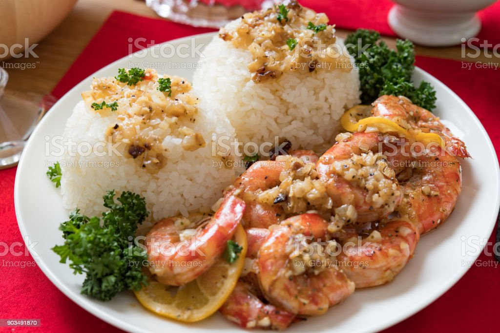 Butter garlic shrimp. stock photo