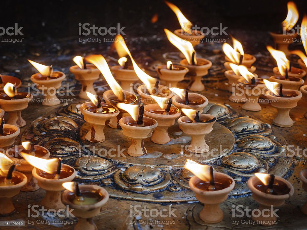 Butter lamps royalty-free stock photo