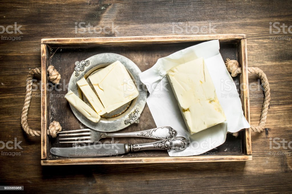 Butter on a tray. stock photo
