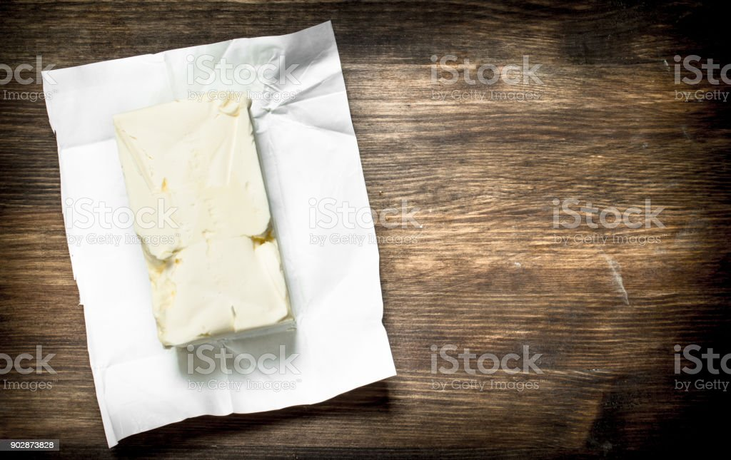 Butter on paper. stock photo