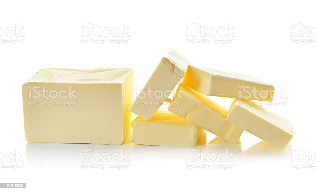 butter on white background stock photo