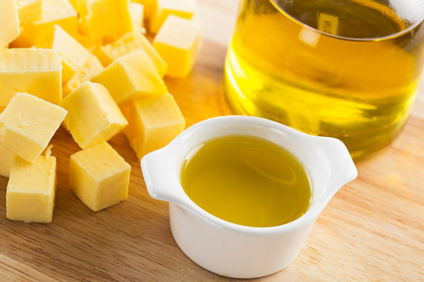 Butter or Olive Oil stock photo