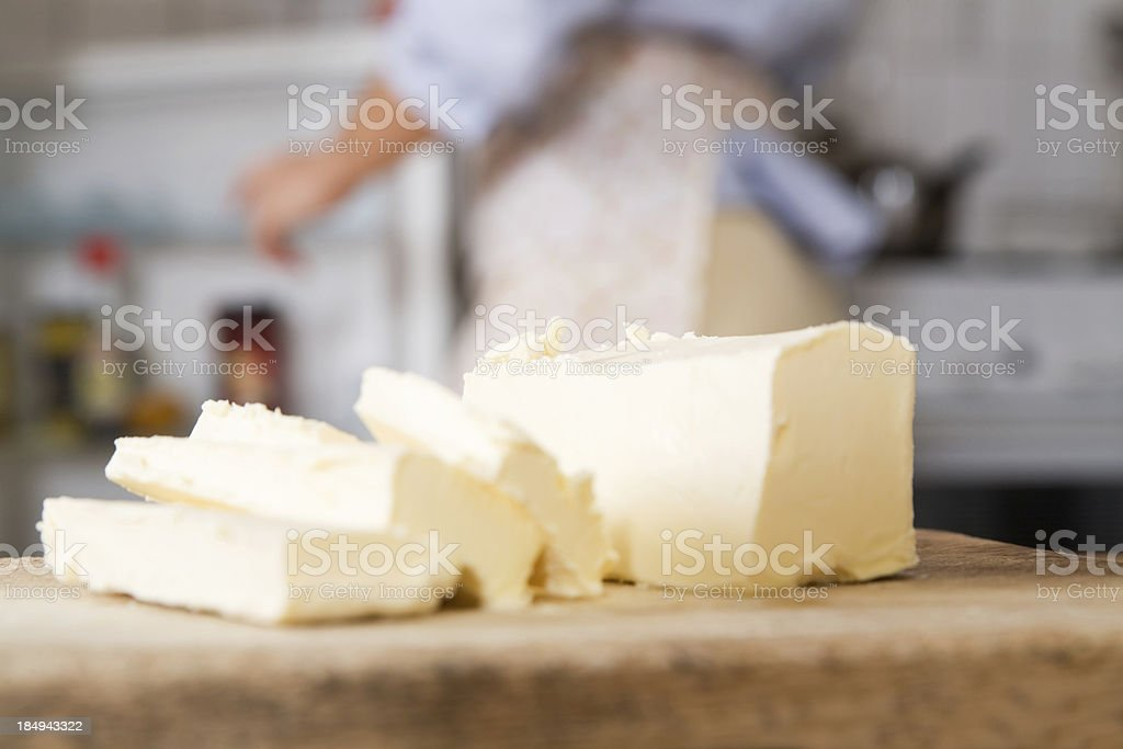 Butter slices stock photo