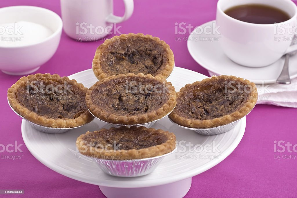 Butter tarts and tea royalty-free stock photo