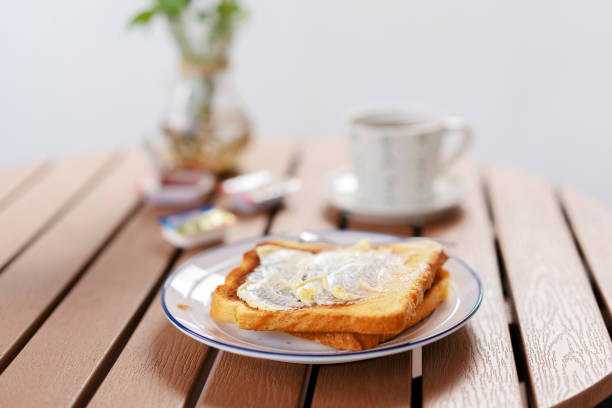 butter toast and coffee stock photo