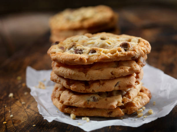Butter Toffee Crunch Chocolate Chip Cookies stock photo
