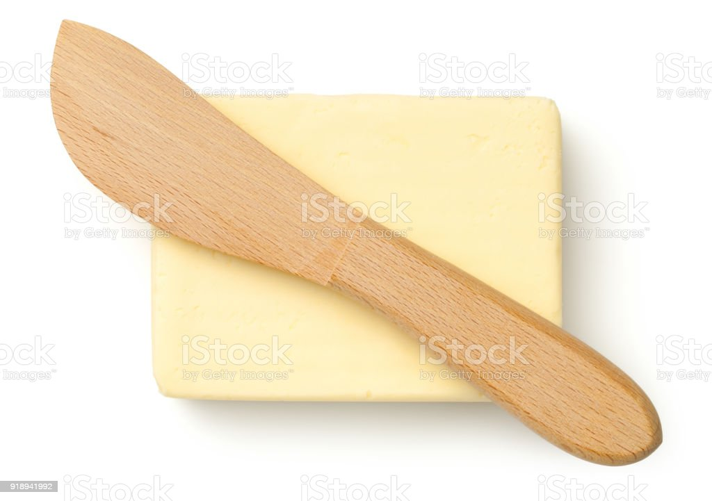 Butter with Knife Isolated on White Background stock photo