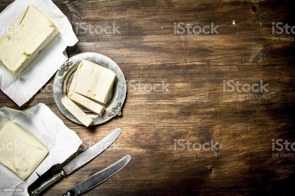Butter with knife. stock photo