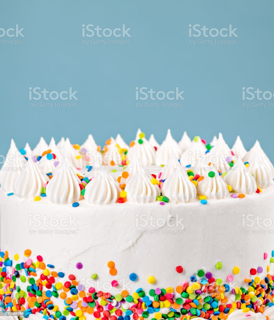 Buttercream Cake with Sprinkles stock photo