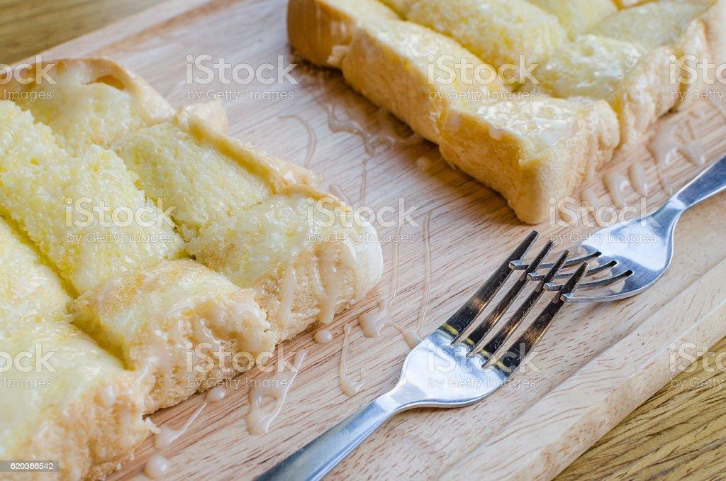 Buttered bread sprinkled sugar zbiór zdjęć royalty-free