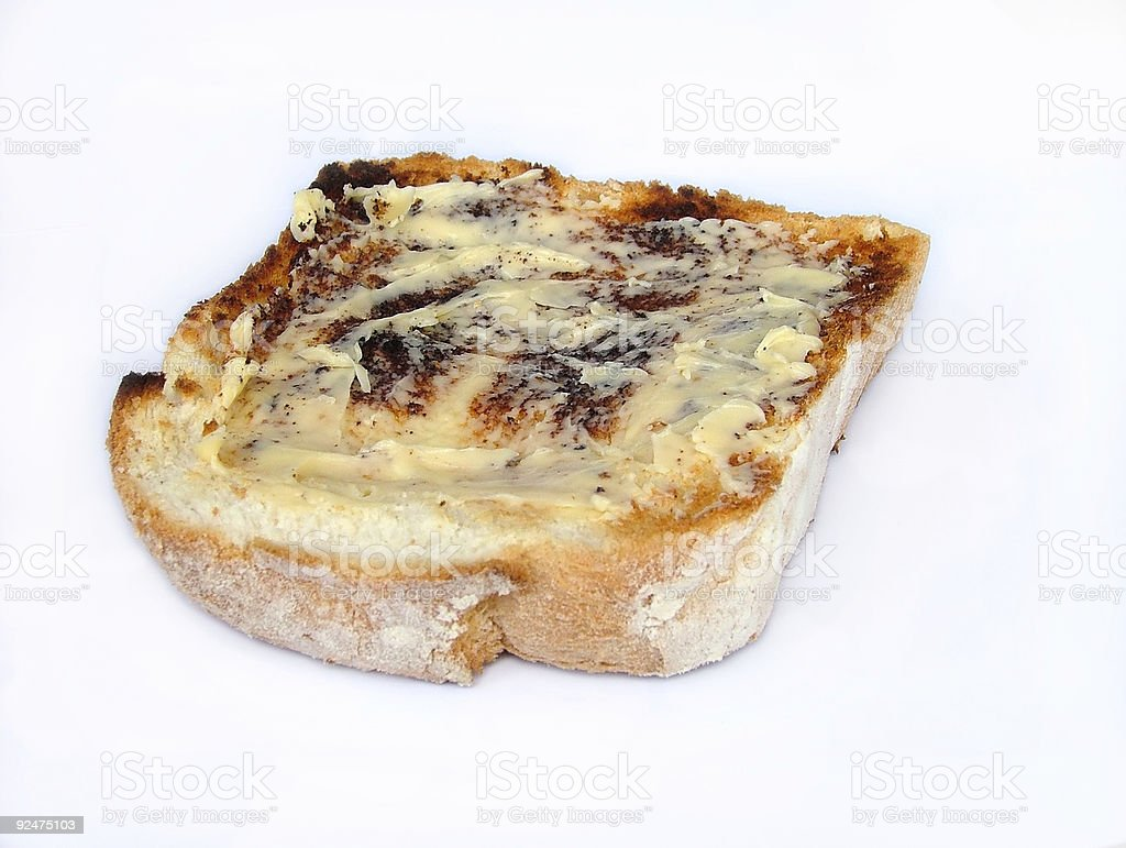 buttered toast royalty-free stock photo