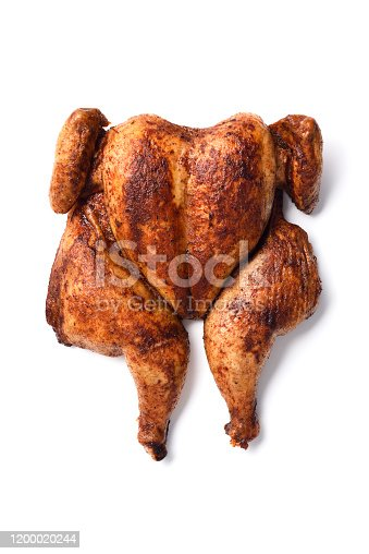 Portuguese butterflied roast chicken isolated on white