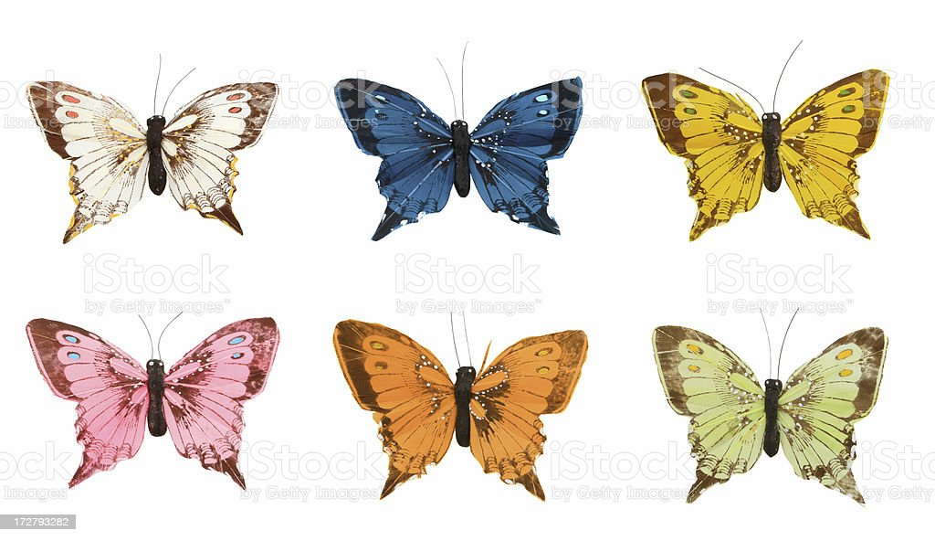 Butterflies made of feathers stock photo