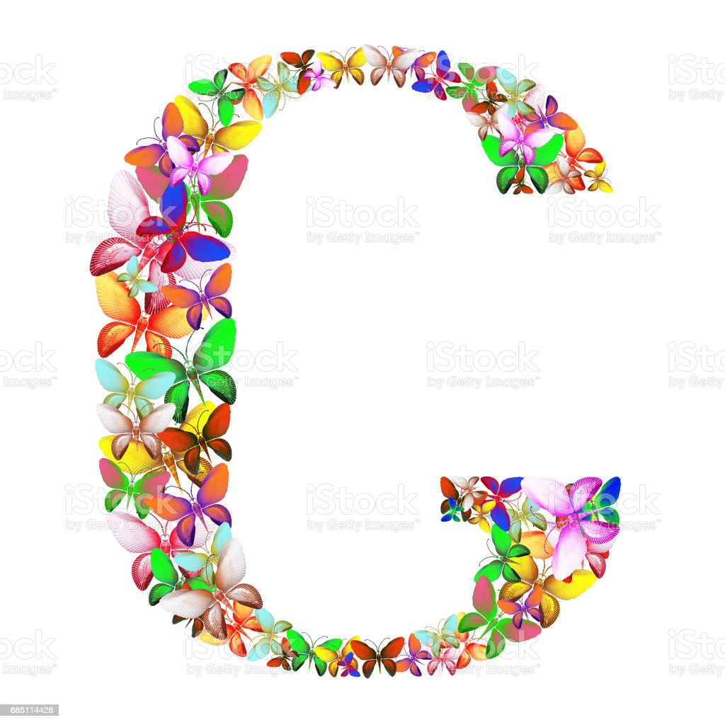 butterflies of different colors, made of sea shells isolated on a white background stacked in the form of letters G royalty-free stock photo