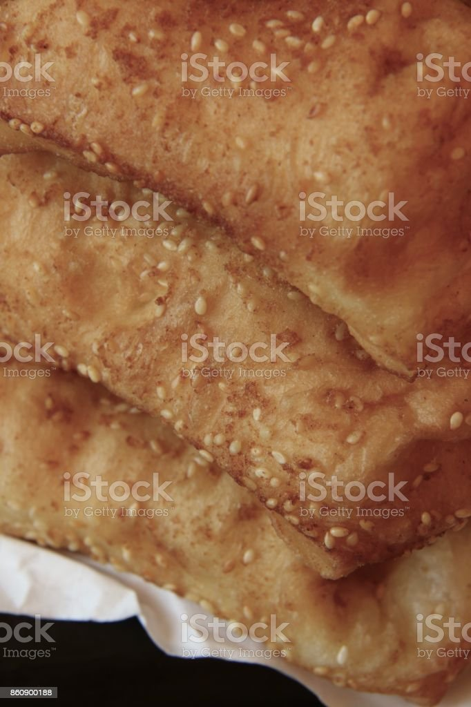 Butterfly Buns, the Chinese Sweet Dough Fritters with Sesame Seeds stock photo
